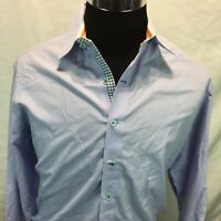 Robert Graham Long Sleeve Button-Front Casual Shirt Large Blue Micro Checks J9