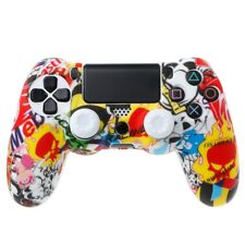 Silicone Cover Multicolor + 2 Joystick Caps Kit For Dualshock 4 PS4 Controller