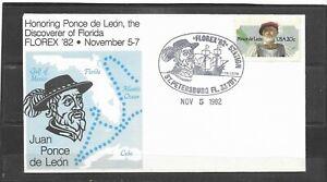 US FLOREX'82 Event Cover, St. Petersburg, FL Honoring Discoverer Ponce de Leon