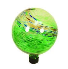 """10"""" Outdoor Garden Yard Decor Green Swirl Illuminarie Gazing Glass Globe Ball"""