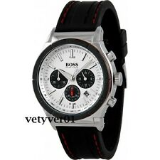 HUGO BOSS Sporty Rubber Strap Chronograph Watch Silver-Tone & Black HB1512499