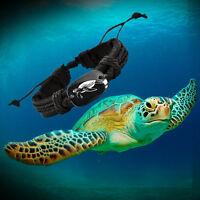 Love Sea Turtle Black Vegan Leather Adjustable Bracelet Free Shipping USA Seller