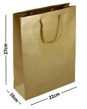 20 LARGE GOLD LAMINATED GLOSS GIFT BAGS ROPE HANDLE BIRTHDAY FAVOURS 22x10x27cm
