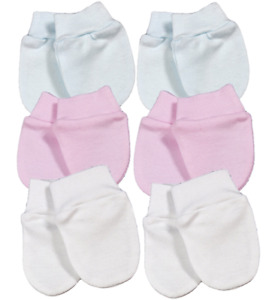 Baby 2 PAIRS scratch mitts premature PREM tiny baby  mittens COTTON