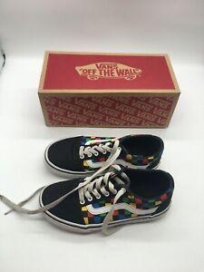 Vans Ward Party Time Black-Multi Color Sneaker Youth Boy's Size 2 - EUC