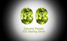 Women's 925 Sterling Silver 4 Ct Peridot 6mm Oval Stud Earrings