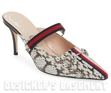 f155b55b0 GUCCI snake print 38 leathr EMMA Horsebit WEB strap Stiletto shoes NWT Auth  $890