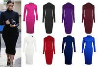 Ladies Roll Turtle Polo Neck Dress Women Long Sleeve Plain Bodycon Midi Dress