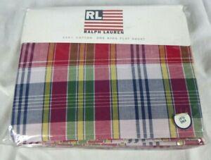 NEW Ralph Lauren Sundeck Plaid Red KING Flat Sheet 100% Cotton
