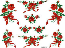 VinTaGe MeYerCorD RePro LonG SteM ReD RoSeS RiBboN ShaBby WaTerSliDe DeCals