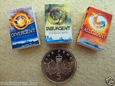 "SET of THREE DOLLS HOUSE MINIATURE BOOKS ""DIVERGENT TRILOGY"" Handmade 1:12 scale"