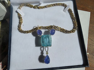 Huge Santa Maria blue color 148ct Aquamarine Tanzanite Diamond 14k gold necklace