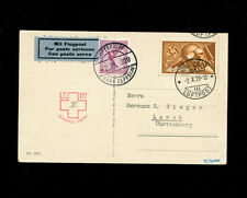 Zeppelin Sieger 39c var 1929 4th Switzerland Flight  RARE DE/CH mixed franking