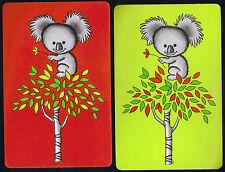 Retro Australian Koala Baby Bear on Gum Tree SINGLE Swap Playing Cards NOT DECK