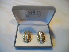 Crystal Clip ons Nib Great Gift Nolan Miller Big Bold Signed Staement Goldtone