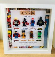 Personalised 3D Box Picture Frame Lego Superhero Marvel DC Comic Dad Christmas