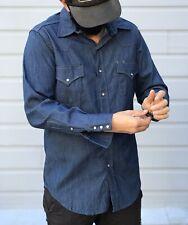 Vintage 70s Sears Roebucks Denim Button Up Shirt Western Cowboy Pearl Snaps Sz M