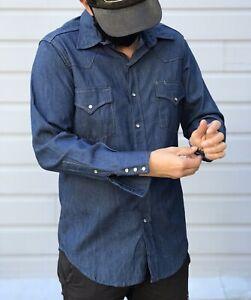 Vintage Denim Shirt  Replay Blue Denim Shirt  Western Cowboy Workwear long sleeved shirt White Pearl Snap Jeans Shirt  Size Medium