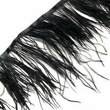 Ostrich Feathers Strung per metre - Black