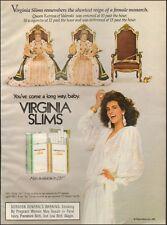 1985-Virginia Slims lights`Cigarettes`Sexy Model`Queen Katrina-Vintage Ad