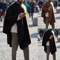 Winter Mens Fleece Cape Cloak Poncho Coat Pullovers Casual Top Outwear Overcoat