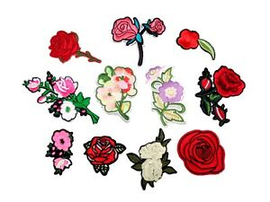 Job lot 10ps iron on flowers roses patch sew on floral embroidery applique motif