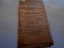 Antique 1893 Rare Royal Netherlands &Us Mail Line Sailing Schedule.