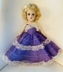 """Vtg Tagged 14"""" Mary Hoyer Doll Fashion Signed Party Dress Purple Ruffle Gown"""