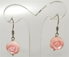Pink Conch Shell carved Rose silver earrings 10mm