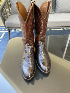 LUCCHESE CLASSICS AMERICAN ALLIGATOR BELLY BIAS CUT RARE EXOTIC COWBOY BOOTS 8D.
