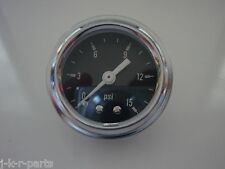 FUEL PRESSURE GAUGE 0 - 15 PSI CHROME RING WITH BLACK FACE MECHANICAL #5715