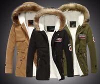 UK Mens Jacket Fur Hoodie Winter Coat Slim Fashion Fur Lining Warm Design Smart