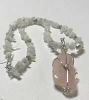 """Beautiful Handcrafted Pink Quartz Necklace, W/ White Natural Stones, 18"""""""