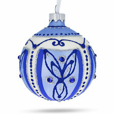 Blue Leaves Glass Ball Christmas Ornament