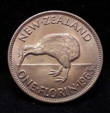 1963 New Zealand florin, scarcer year, UNC, KM-28.2 (NZ3)