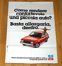 CHRYSLER SIMCA SUNBEAM 1000 1300 poster manifesto affiche Car Automobile Auto