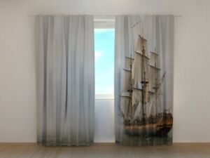 Fotogardine Piratenschiff, Fotovorhang mit Motiv, Digitaldruck, Gardine auf Maß
