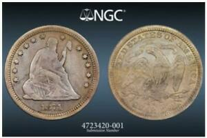 1871-CC Seated Liberty Quarter | NGC VF/XF details | Carson City | Very Rare
