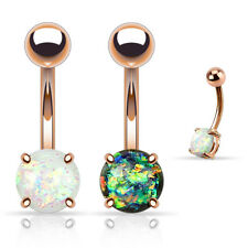 2 Pc Opal Prong Set Rose Gold IP Belly Button Rings Navel Piercing Jewelry