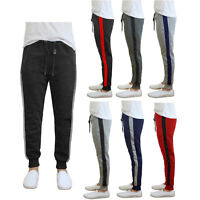 Mens Fleece Jogger Heavyweight Active Jogger Sweatpants w/ Contrast Side Stripe