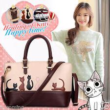 Women Ladies Cat Leather Shoulder Bag ZipTote Cross Body Purse Handbag Messenger