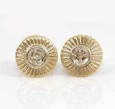 Vtg Antique Estate Natural Rose Cut Diamond 14K Gold Button Stud Earrings LDL3