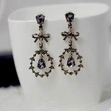 Boucles d'Oreilles Clous Goutte Gris Noeud Papillon Bow Fin Art Deco XX 8