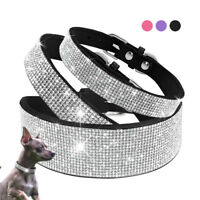 Bling Pet Dog Collar Full Rhinestone Soft Suede Leather Puppy Dog Necklace XS-XL
