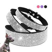 Rhinestone Diamante Dog Collar Soft Suede Puppy Cat Necklace Chihuahua Yorkie