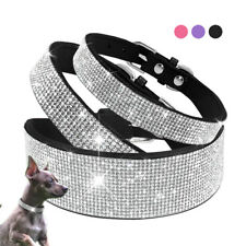 Bling Rhinestones Diamante Pet Dog Collar Soft Suede for Small Medium Large Dogs