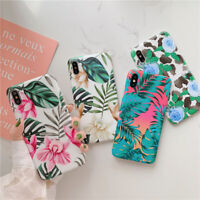 For iPhone XS MAX XR X 7 8 Plus Cases Elegant Floral Leaf Plant Soft Phone Cover