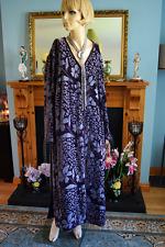 Silk vintage devore long purple 20s Deco coat jacket duster kimono sz 16 18 20 L