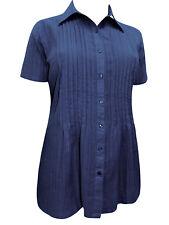 Woman Within NAVY BLUE Waffle Stripe Short Sleeve Shirt Sizes 18/20 to 46/48
