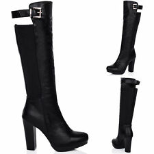 Unbranded Women's Synthetic Leather Knee High Boots Block Shoes